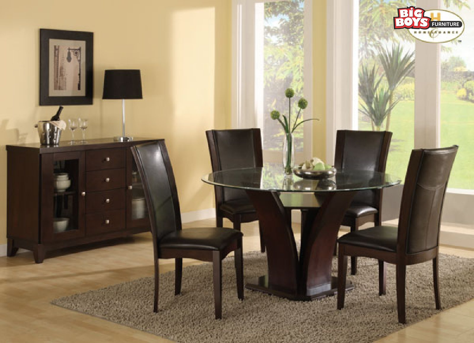 James 5-Piece Round Glass Top with Wood Dining Set with Black or White Chairs