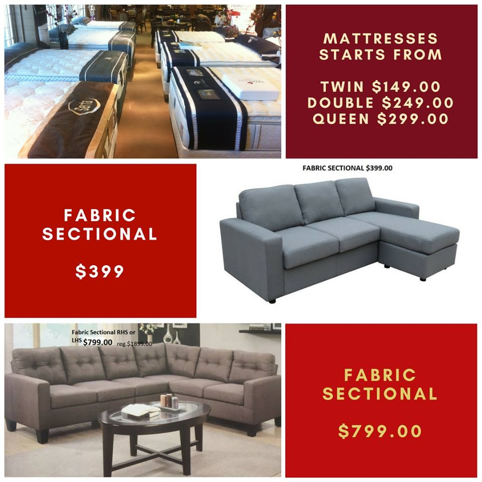 Best quality mattresses and fabric sectionals at best prices.