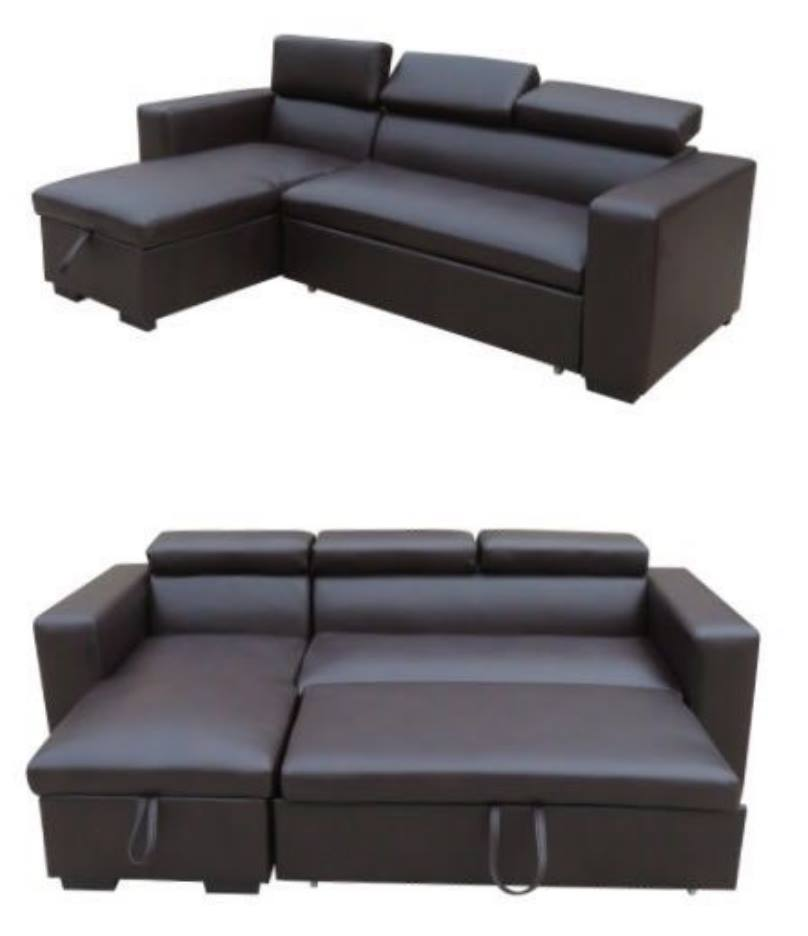BLACK & BROWN REVERSIBLE SOFA SET WITH STORAGE CHAISE ...