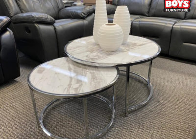 Faux Marble Round Nesting Tables