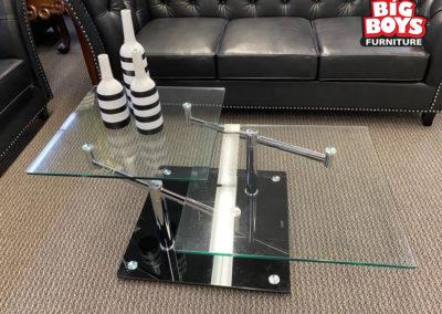 Glass and Metal Swivel Coffee Table