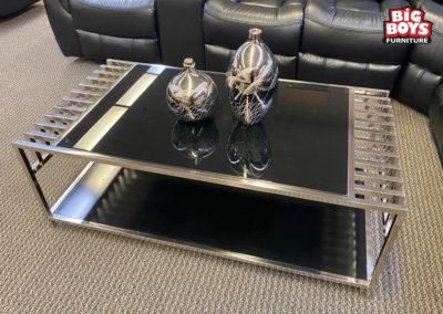 Metal and Black Glass Coffee Table