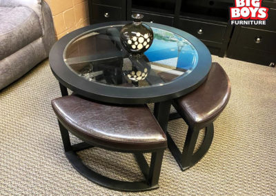Round Glass Table with 4 Stools