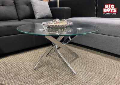 Round Glass Table with Metal