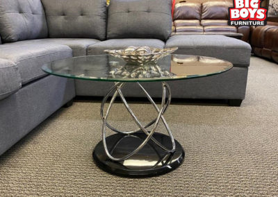 Round Glass and Metal Table with Base