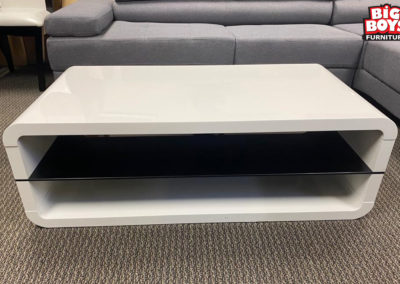 White Acrylic Rectangle Coffee Table with Shelf