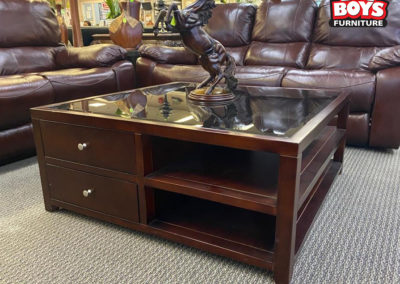Wood and Black Glass Square Coffee Table with Storage Shelves and Drawers