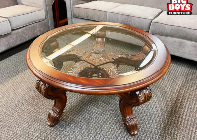 Wood and Glass Round Coffee Table