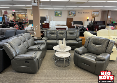 3 Piece Air Leather Sofa, Chair + Console Loveseat Set